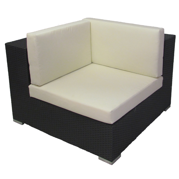 timeless design bb04d 95a4b Rattan Sofa Black - Left Corner